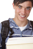 Young handsome student holding study books Stock Image