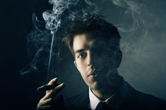 Young handsome stylish man smoking cigar Royalty Free Stock Image