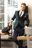 Young handsome stylish man in trendy cafe Royalty Free Stock Images