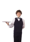 Young handsome waiter with tray. Isolated on white Stock Images