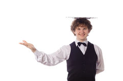 Young handsome waiter with tray. Isolated on white Stock Photography