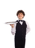 Young handsome waiter with tray. Isolated on white Royalty Free Stock Image