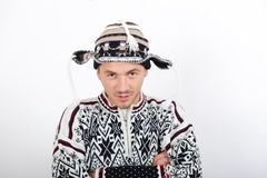 Young handsome winter man in knit clothes Royalty Free Stock Photo