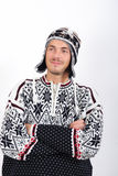 Young handsome winter man in knit clothes Stock Photography
