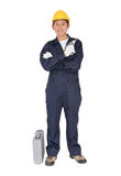 Young handyman  standing with his tool box Royalty Free Stock Photos