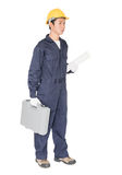Young handyman  standing with his tool box Stock Images