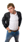 Young hansome man in leather jacket isolated Stock Photos