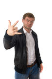 Young hansome man in leather jacket isolated Royalty Free Stock Photo