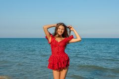 Young happiness woman on the sea Royalty Free Stock Photos