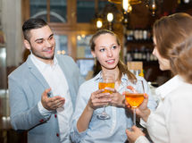 Young happy adults at bar Royalty Free Stock Photography
