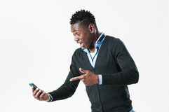 Young man with Cell Phone stock photos