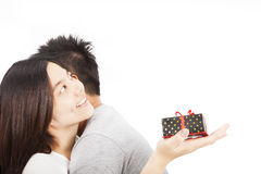 Young happy asian  couple with gift Stock Image