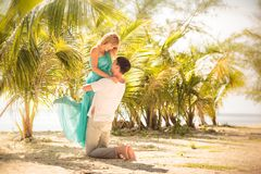 Young happy asian couple on honeymoon Royalty Free Stock Photo