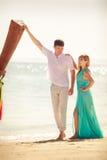 Young happy asian couple on honeymoon Stock Images