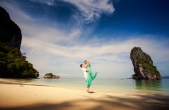 Young happy asian couple on honeymoon Stock Photos