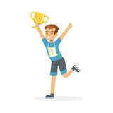 Young happy athletes boy running with winner cup, kid celebrating his victory cartoon vector Illustration. Young athletes boy running with winner cup, kid Royalty Free Stock Photography