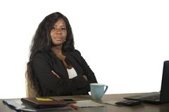 Young happy and attractive black afro American business woman working at office computer desk smiling successful posing corporate royalty free stock photos