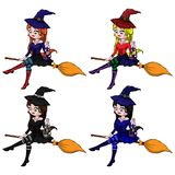 Young happy and attractive witches, vector Halloween collection.  stock illustration