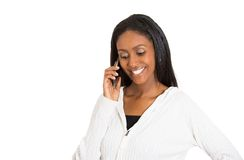 Young happy attractive woman professional talking on cell smartphone stock photos