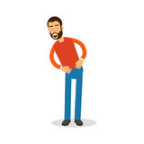 Young happy bearded man in red pullover standing and laughing with tears cartoon character vector Illustration stock illustration