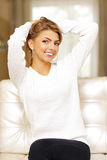 Young happy beatiful woman relaxing Royalty Free Stock Images