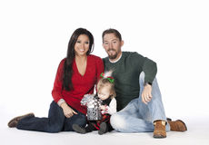 A young happy beautiful Christmas Family stock photo