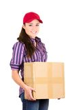 Young happy beautiful delivery girl carrying Stock Photo