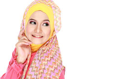 Young happy beautiful muslim woman with green costume wearing hi royalty free stock photo