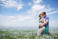 Young happy beautiful pregnant couple in linen field royalty free stock images