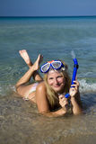 Young happy beautiful summer diving woman Stock Photo