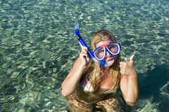 Young happy beautiful summer diving woman Stock Image