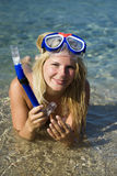 Young happy beautiful summer diving woman Stock Photos