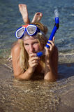 Young happy beautiful summer diving woman Royalty Free Stock Photography