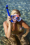 Young happy beautiful summer diving woman Royalty Free Stock Photo