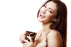 Young Happy Beautiful Woman Hoolding Cup Of Tea Or Coffee Royalty Free Stock Image