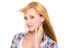 Young happy blond female, portrait, isolated Royalty Free Stock Photography