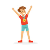 Young happy boy with a first place medal, athletes kid celebrating his golden medal cartoon vector Illustration. On a white background Stock Photos