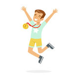 Young happy boy with a first place medal, kid celebrating his golden medal cartoon vector Illustration. On a white background Royalty Free Stock Images