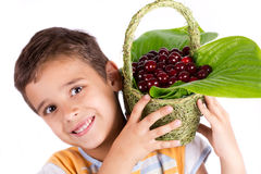 Young happy boy holding cherry basket Royalty Free Stock Image