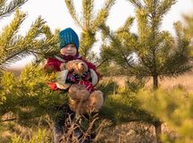 Young happy boy playing outdoor with teddy bear toy Royalty Free Stock Images