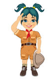 Young happy boy scout girl doing a hand sign and holding Safari hat Royalty Free Stock Images