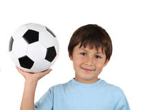 Young happy boy with soccer ball Royalty Free Stock Photos