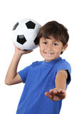 Young happy boy with soccer ball stock images