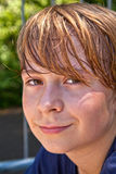 Young happy boy sweating Royalty Free Stock Image