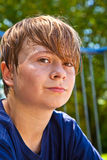 Young happy boy sweating Stock Image