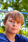 Young happy boy sweating Stock Images
