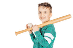 Young happy boy with wooden baseball bat and ball isolated on wh Stock Images