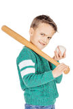 Young happy boy with wooden baseball bat and ball isolated on wh Stock Photo