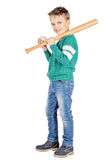 Young happy boy with wooden baseball bat and ball isolated on wh Royalty Free Stock Image