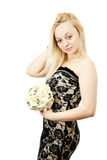 Young Happy Bride With Flower Bouquet. Royalty Free Stock Images